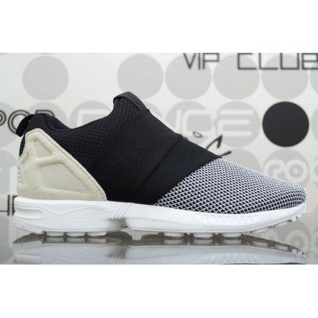 Scarpe Adidas ZX Flux Slip On bianche/nere da uomo con tomaia in mesh di tricot e neoprene con fasce elasticizzate invece dei lacci. Spedizioni in 24/48h.