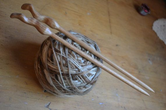 """Wood Woman, Canary Wood, hand turned wooden knitting needles, size 11, 8mm, shaft is 9"""" long"""