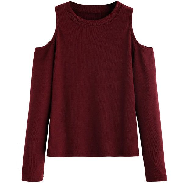 Burgundy Open Shoulder Knitted T-shirt found on Polyvore featuring tops, t-shirts, sweaters, shirts, long sleeves, red long sleeve t shirt, print t shirts, long sleeve tops, cold shoulder t shirt and cold shoulder shirt