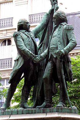 La Fayette et Washington, statue de la place des États-Unis, Paris