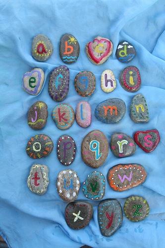 Alphabet stones for my son's fifth birthday.