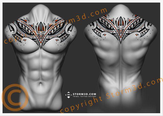 polinésio-laranja-chestplate-tribal-maori-tattoo-design