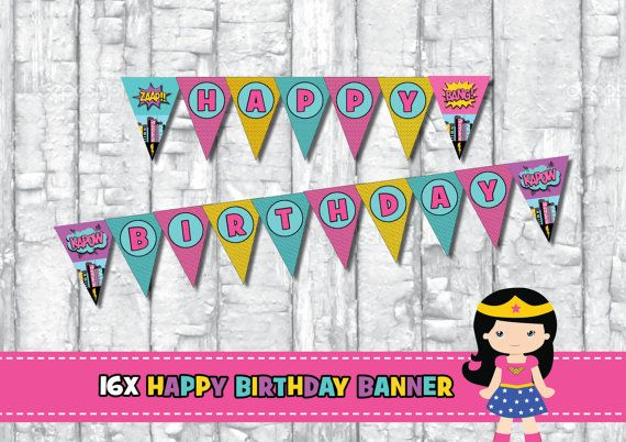 16x GIRL SUPERHERO Happy Birthday Banner. Party by RedAppleStudio
