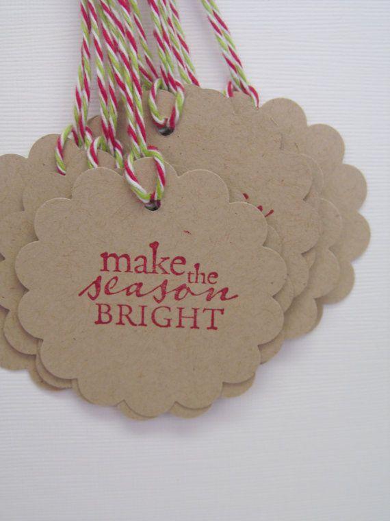 Make the Season Bright Set of 10 Christmas Tags Embellishment. Place Setting.  Goodie Bag Ties. Hostess Gift.