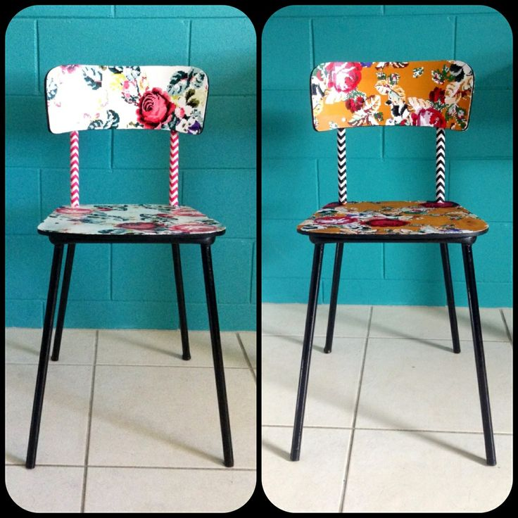 Quirky fabric decoupage formica vintage chairs three sisters design on facebook three - Decoupage su mobili in formica ...