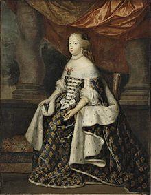 Oil on canvas portrait of Marie Thérèse of Austria (1638-1683) wearing the fleur-de-lis robes as Queen of France.jpg