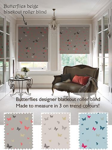 Details About Butterflies Blackout Patterned Roller Blind