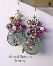 Large Moss Aquamarine Briolettes topped with tendrils of shaded Tourmalines, Keishi Pearls & Rhodoite Garnets  Dangle Earrings | Schaef Designs Pearl & Gemstone Jewelry | Online Jewelry Boutique | San Diego, CA