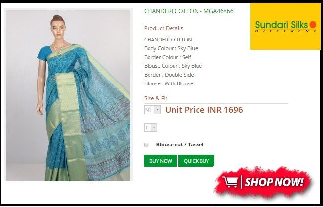 Amazing Chanderi  silk Cotton Sarees are availabele at Sundarisilks.com