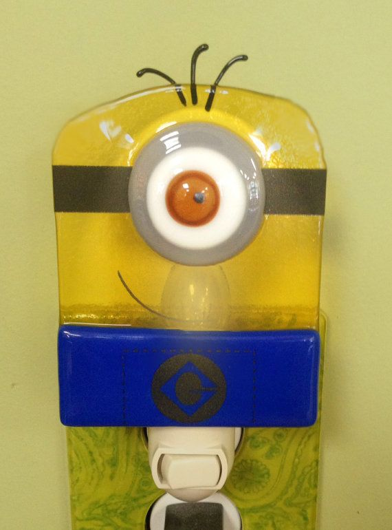 Minion Night Light Fused Glass Despicable Me by MineByDesignStudio, $20.00