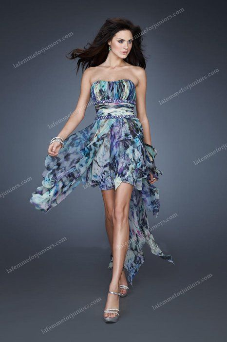 High Low Strapless HPrinted Multi La Femme 18391 Prom Dresses [La Femme 18391] - $165.00 : Juniors' Dresses | Cheap Prom Dresses 2014| Homecoming Dresses Discount