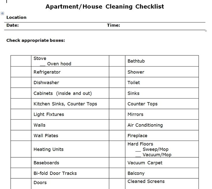 Apartment Cleaning Checklist Word Template Templates And