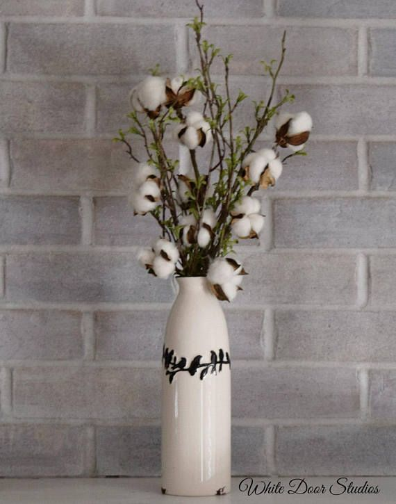 This Gorgeous Cotton Stem And Greenery Arrangement Brings Farmhouse Style To Any Room Of Home Floral Arrangements Floral Arrangements Diy Greenery Arrangements