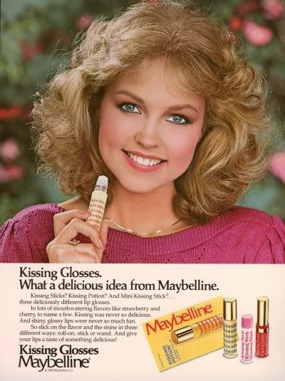 Maybelline's kissing glosses ad with Deborah Foreman from 1980s