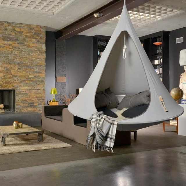 Create your very own piece of paradise with the Double Hanging Cacoon!A luxury hammock style refuge for hanging indoors or outdoors and an eye catching piece of garden seating, created by Cacoon, designed in the Netherlands.The Cacoon folds down to a manageable size (25 x 80 cm for the double) and a handy carry bag is supplied to help you transport it anywhere you like.Made from a durable yet soft blend of cotton and polyester.Mold, UV and water resistant high quality fabric used in camping…