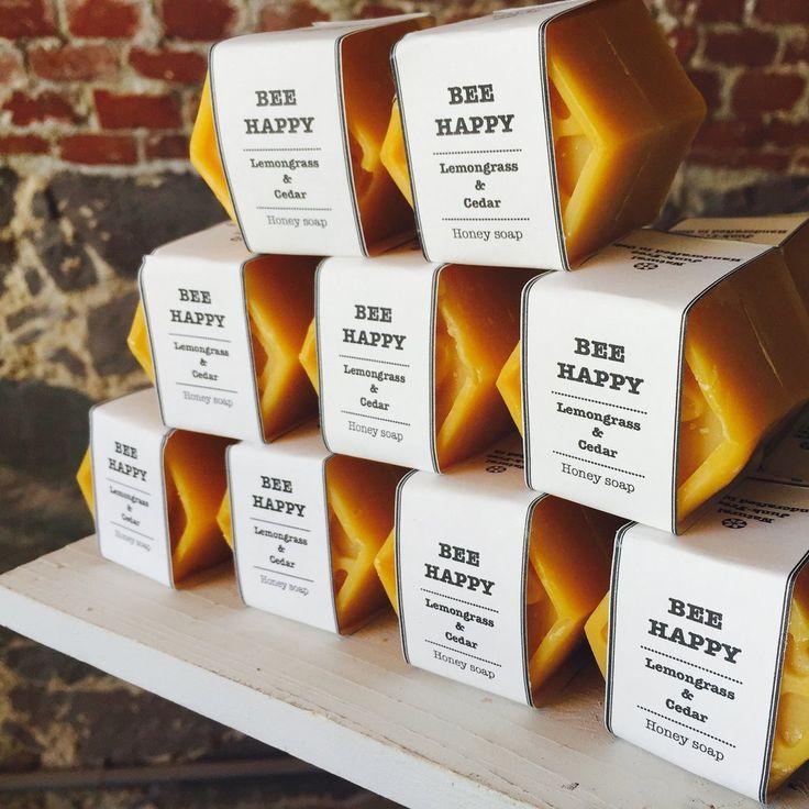 Bee Happy soap bar with honey, turmeric, lemongrass and himalayan cedar #naturalskincare #madeinnorway