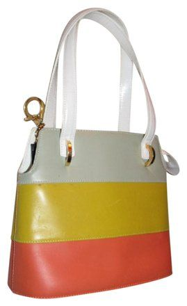 b91d7af517cf Salvatore Ferragamo Mint Vintage Dressy Or Casual Gold Gancini Accent  Bucket Bag/Satchel Satchel in color block in white, yellow, and orange  leather