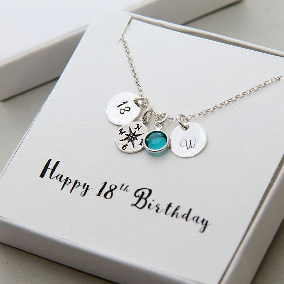 18th Birthday Gifts, Compass Necklace, Gift for Daughter, 18th Birthday Girl, Gift for 18th, Personalized Necklace, Birthstone Necklace