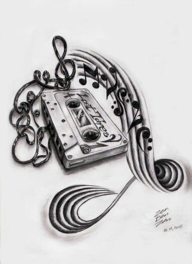 Lost tapes music tattoo design