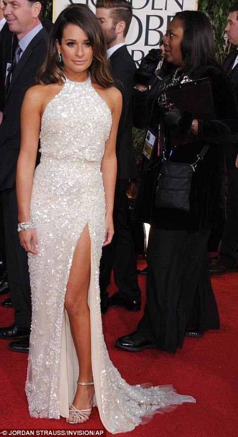 White hot:  Lea Michele sizzled in her white gown