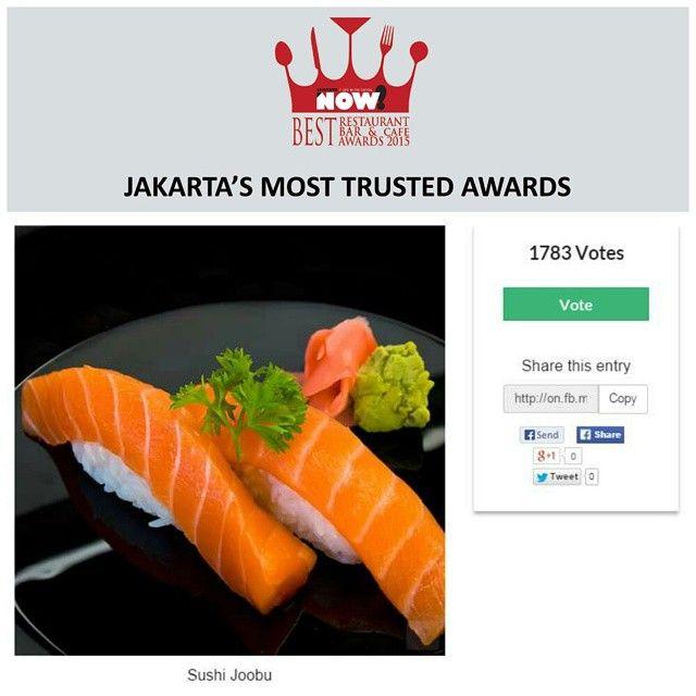 Give your vote for Sushi Joobu for The Best Japanese Restaurant on #BRBCA2015! #Jakarta #NOWJakarta #LifeinTheCapital #BRBCA #Best #Japanese #Restaurant #Category #Award #Event #JKTEvent #Sushi #Joobu #SushiJoobu #SushiJoobuJakarta #SushiJoobuJKT #Brunch #Lunch #Dine #Diner #Dining #Hangout