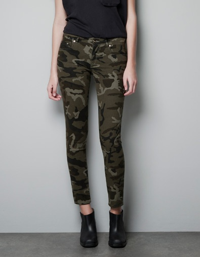 They're back in stock! I still want them so much... POWER STRETCH CAMOUFLAGE TROUSERS - Trousers - Woman - ZARA United States $79.90