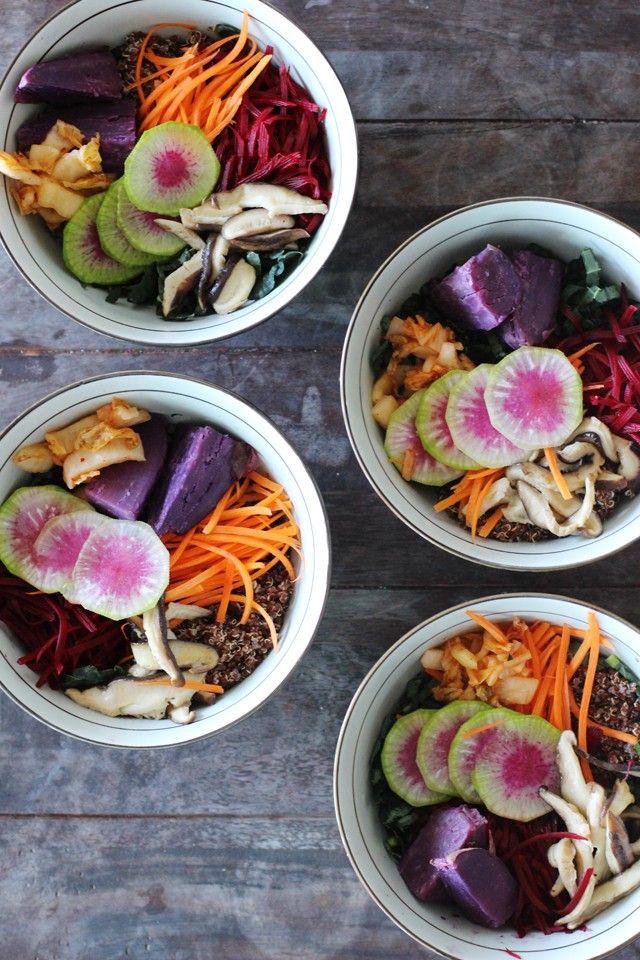 Vegan Quinoa Bowl. Eat the rainbow for maximum nutrients and antioxidants.