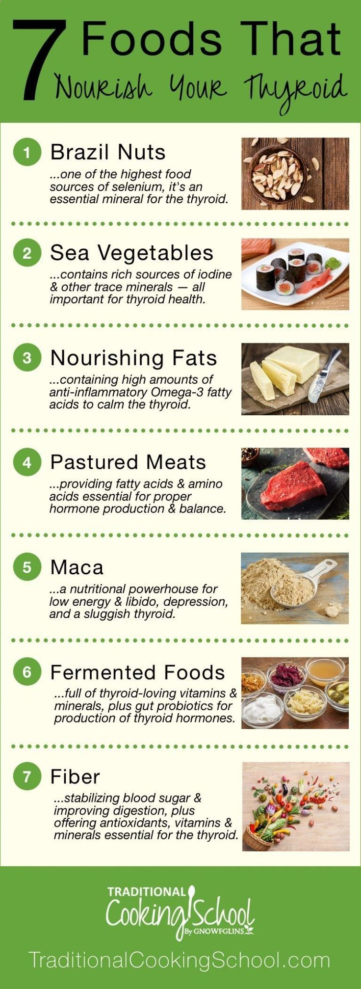 7 Foods That Nourish Your Thyroid | Gaining weight? Feeling depressed or sluggish? Is your hair falling out? Have you experienced strange or irregular heartbeats? Can't sleep? All roads might lead to your thyroid. Thyroid problems can be genetic, and though you can't control your genes, you can control your diet and lifestyle. Nourish your thyroid with these 7 foods! | TraditionalCookin... #Dietandyourthyroid