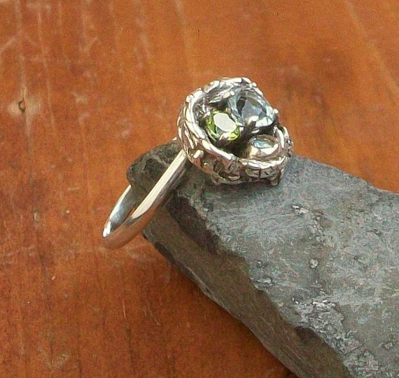 Art Clay Sculpted Bird Nest Ring: Reserved For Tricia Mothers Ring Bird Nest By