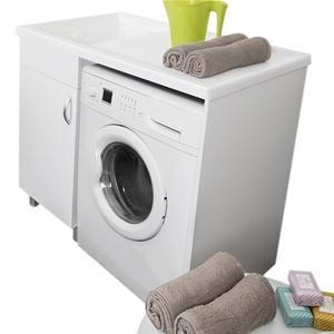 Mobile coprilavatrice 107x60 con vasca lavatoio a sinistra per lavanderia