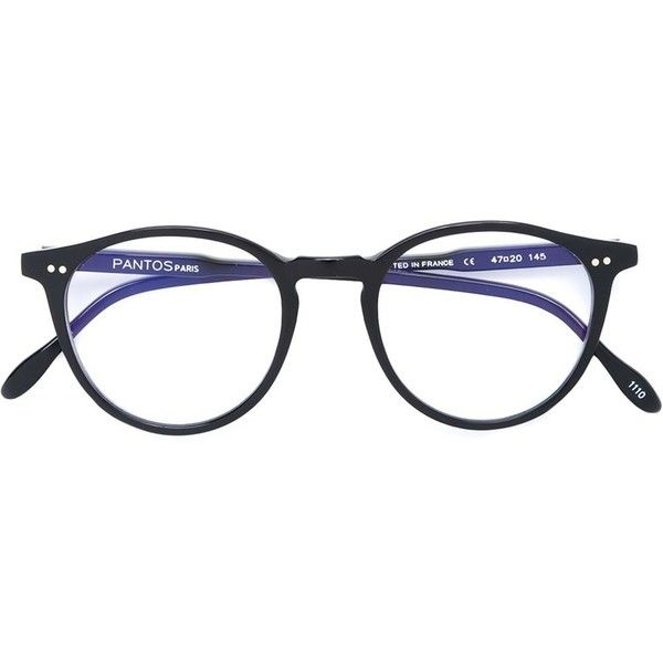 Pantos Paris round frame glasses ($225) ❤ liked on Polyvore featuring accessories, eyewear, eyeglasses, black, panto eyeglasses, acetate glasses and lens glasses