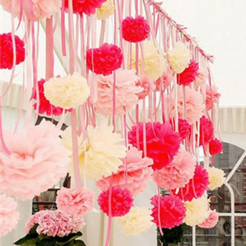 Details about 12 wedding tissue paper pom poms party xmas for Hanging pom poms from ceiling