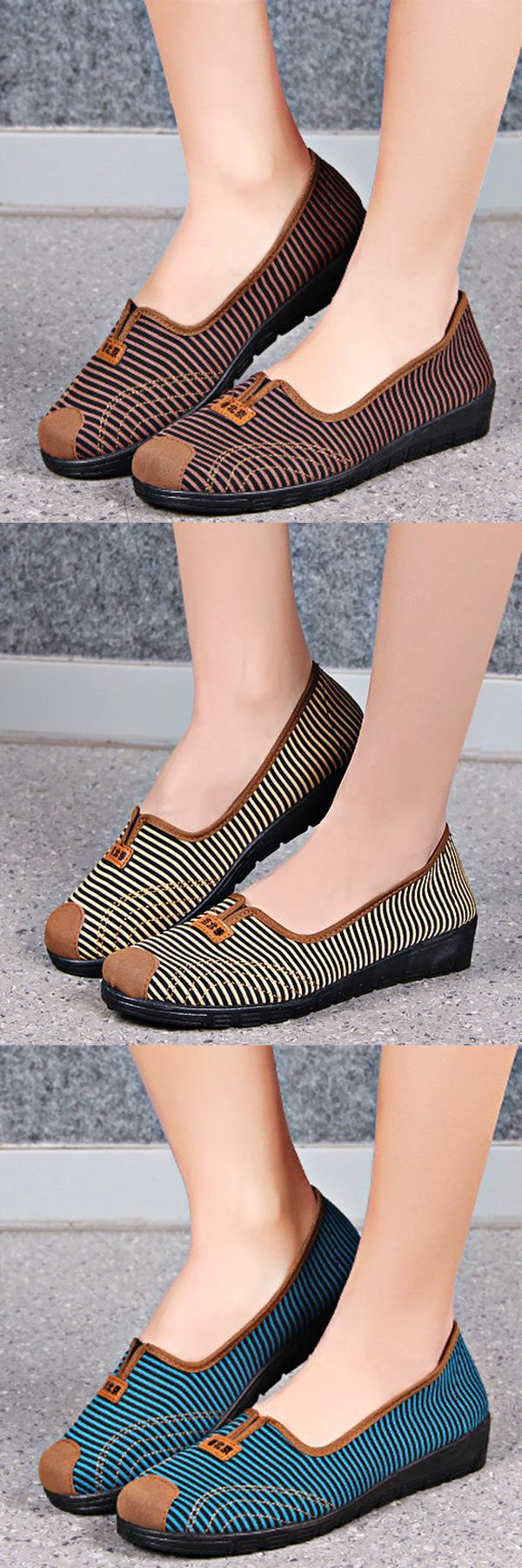 US$11.30  Comfortable Stripe Old Peking Soft Sole Flat Casual Shoes