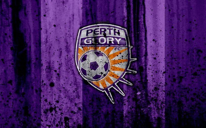 Download wallpapers 4k, FC Perth Glory, grunge, A-League, soccer, football club, Australia, Perth Glory, logo, stone texture, Perth Glory FC