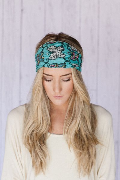 Green Sequin Floral Boho Beaded Hippie Headband