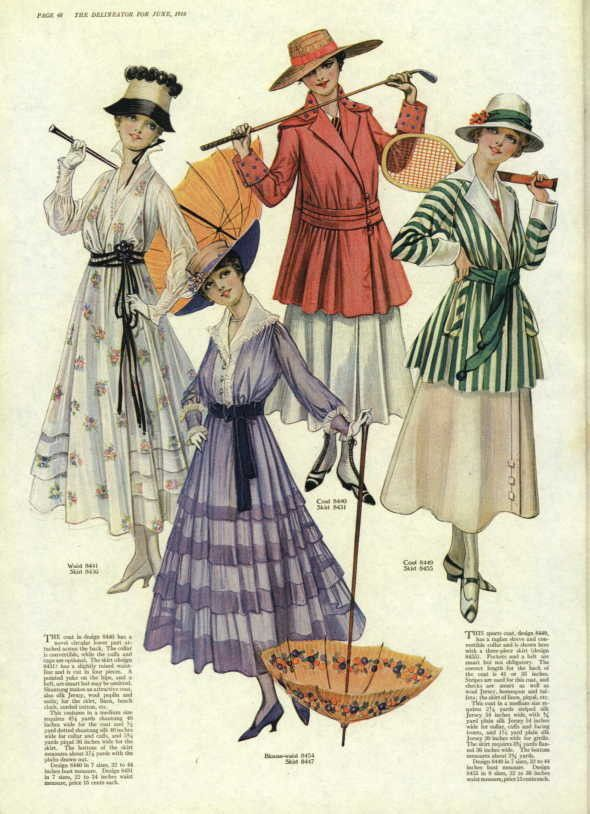 """Day and sport dresses, 1916 US, the Delineator"""