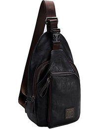 FreeMaster Mochila de hombro para hombre, estilo vintage, piel sintética, se puede llevar sobre el pecho, ideal para hacer senderismo, pequeño tamaño, moderna, Black B, 12.6L x 5.9W x 2H inch (32 x 15 x 5cm)