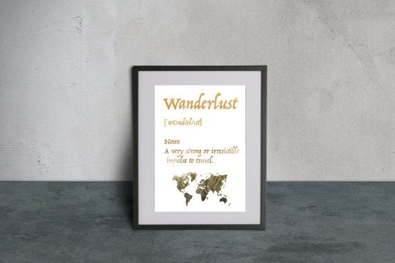 Wanderlust, Wanderlust Print, Wanderlust Poster, Gift For Traveler, World Map Poster, Wanderlust Printable Art, Wanderlust Wall Decor,Travel  Wanderlust quote print definition A very strong or irresistible impulse to travel with world map. The image is available to print in digital format directly! The maximum size I recommend is 50cm x 70cm.  If you need more information about the product or have any questions, do not hesitate to contact me!  Wanderlust Art, Wanderlust Print, Wanderlust…