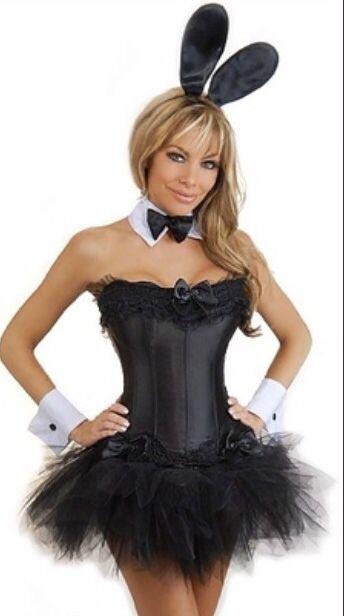 black playboy bunny corset costume with mini tutu or ruffle mini skirt - Halloween Costume Playboy Bunny
