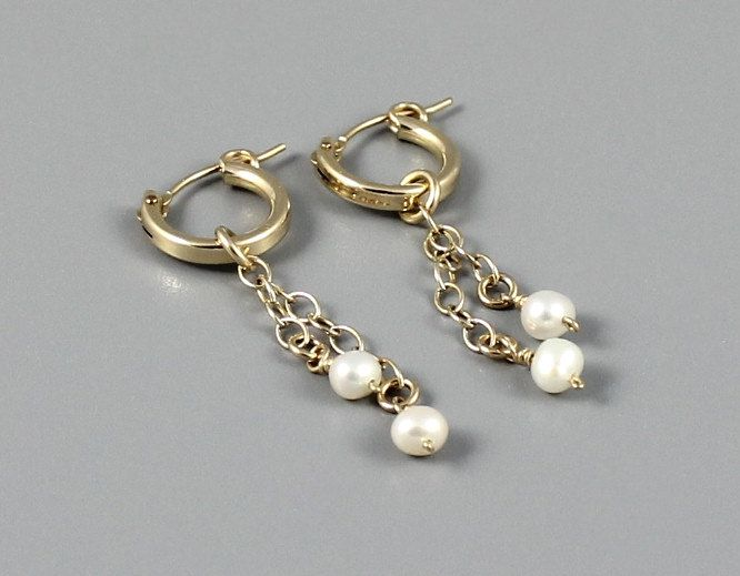 Hoop Earrings,Gold Filled Hoops,Classic Gold Earrings,Preppy Jewelry,Freshwater Pearls,Bridal & Bridesmaid,Wedding Jewelry,Chain Strand,Prom by Advajewels on Etsy