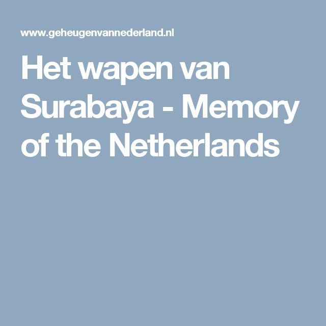 Het wapen van Surabaya - Memory of the Netherlands