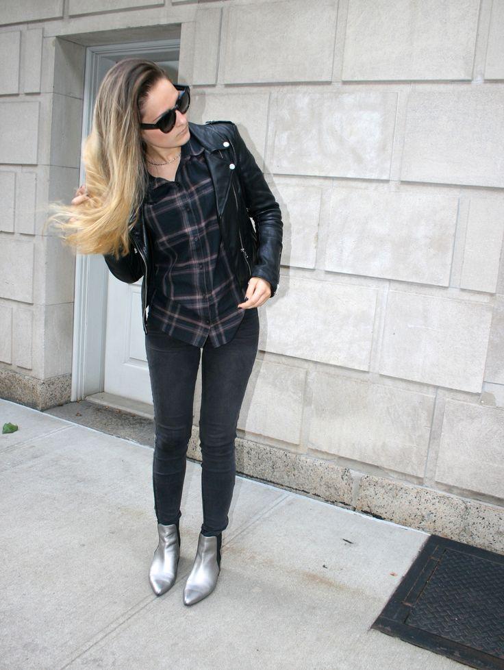 Shop this look on Lookastic:  http://lookastic.com/women/looks/biker-jacket-dress-shirt-sunglasses-skinny-jeans-chelsea-boots/5005  — Black Leather Biker Jacket  — Black Plaid Dress Shirt  — Black Sunglasses  — Black Skinny Jeans  — Silver Leather Chelsea Boots