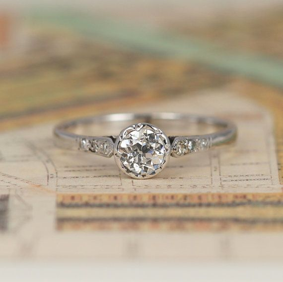 Art Deco Old Cut Diamond Engagement Ring, Vintage 0.33 Carat Solitaire with Diamond Shoulders, 18ct White Gold & Platinum