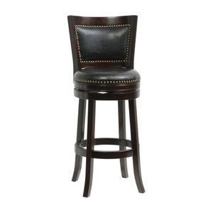 Boraam 29 in. Bristol Leather Swivel Bar Stool