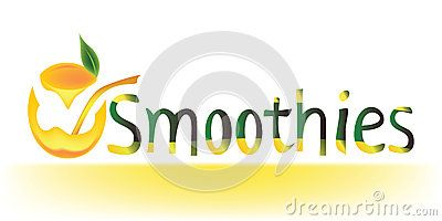 #Smoothies #word along with an abstract #glass full of #juice made from the #squeezed #orange above it