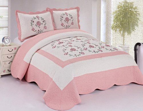 115 best Bedrooms images on Pinterest | Burlap bedding, Colors and ... : pink quilted bedspread - Adamdwight.com