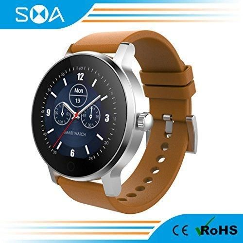 SMA Fitness Watch for iPhonesHeart Rate Monitor SmartwatchBluetooth Fitness Tracker for Android Women/men (Silver-leather)
