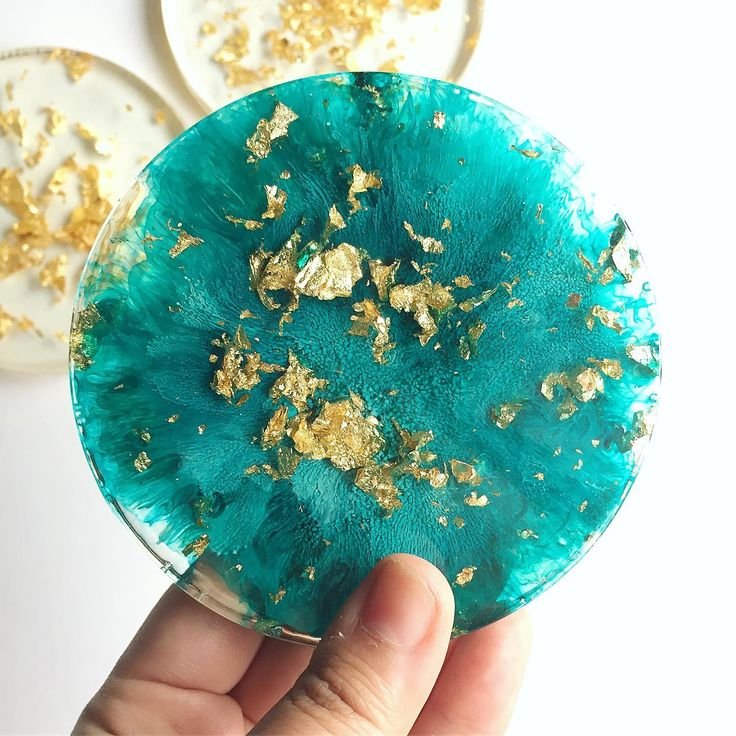 Gold teal resin coaster set with images diy resin