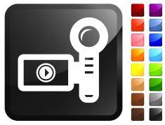 Video Camera royalty free vector icon set stickers vector art illustration