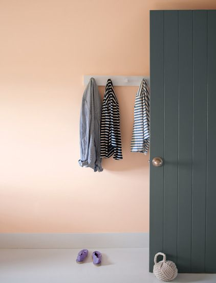 The charcoal-gray door and dove-gray floor anchor this warm, airy space and give the pale peach wall a fresh, hip and contemporary vibe. The breath of white (in the form of a peg coatrack) also helps cut through the color..